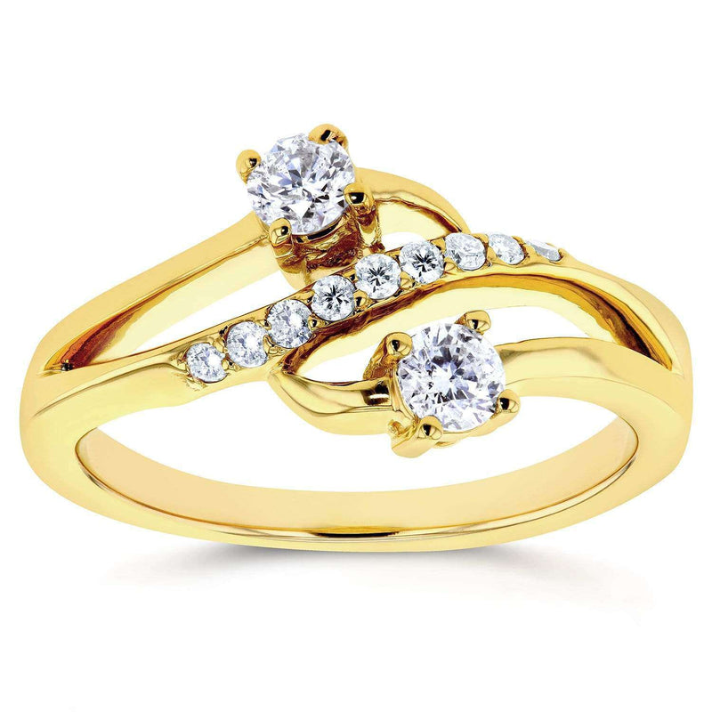 Kobelli Two Stone Diamond Ring 1/3 ctw in 14k Yellow Gold