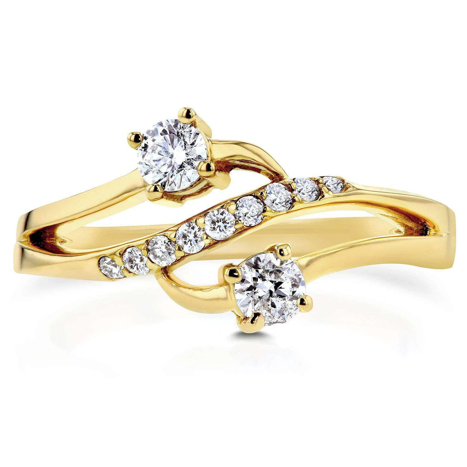 Compare Tidal Diamond 2-Stone Yellow Gold - 6