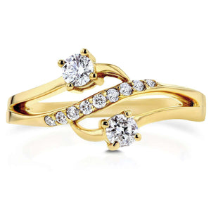 Two Stone Diamond Ring 1/3 ctw in 14k Yellow Gold
