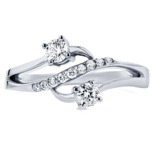 Two Stone Diamond Ring 1/3 ctw in 14k White Gold