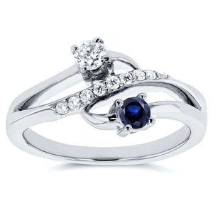 Two Stone Diamond & Sapphire Ring 1/3 ctw in 14k White Gold