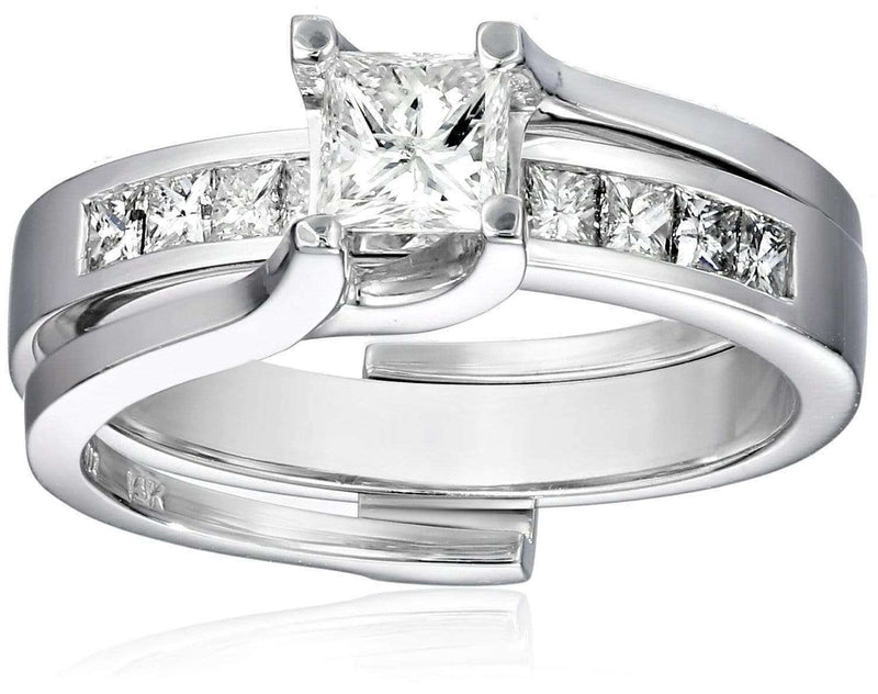 Kobelli Princess Diamond Bridal Set 1 CTW in 14k White Gold