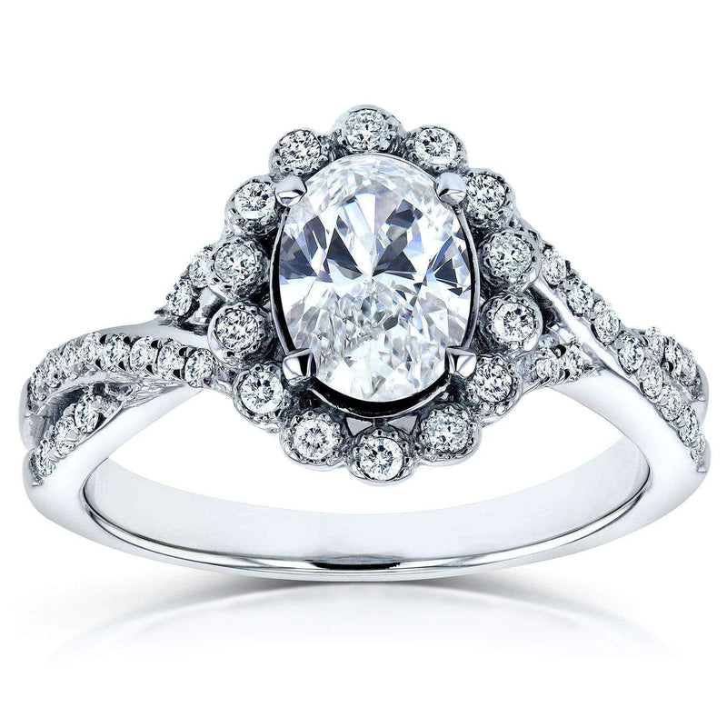 Kobelli Antique Style Oval Diamond Engagement Ring 1 Carat (ctw) in 14K White Gold