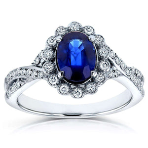 Oval Blue Sapphire and Diamond Antique Engagement Ring 1 1/4 CTW in 14K White Gold