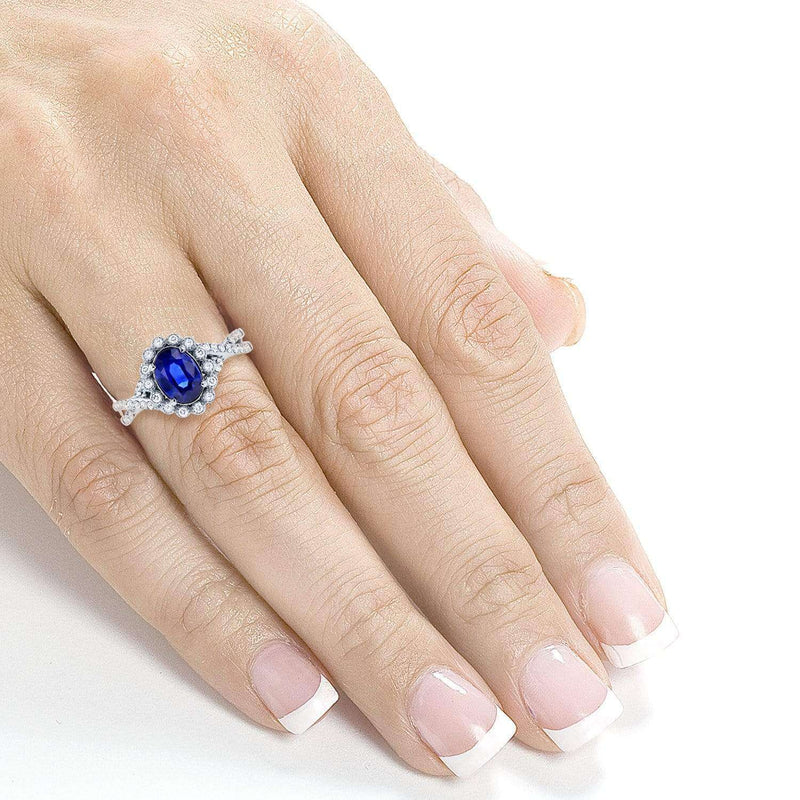 Kobelli Oval Blue Sapphire and Diamond Antique Engagement Ring 1 1/4 CTW in 14K White Gold