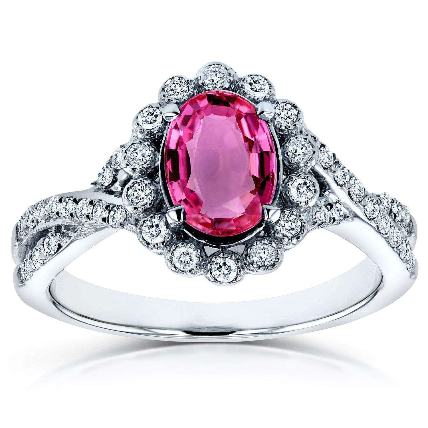 Discounts Oval Pink Sapphire and Diamond Antique Engagement Ring 1 1/4 CTW in 14K White Gold - 10.5