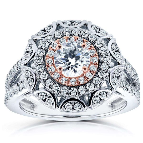 Kobelli Floral Round Diamond Engagement Ring 1 CTW in 14k Two-Tone Gold