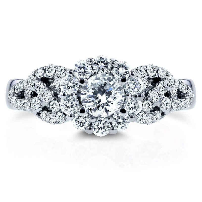 Kobelli Round Diamond Engagement Ring 1 Carat (ctw) in 14k White Gold