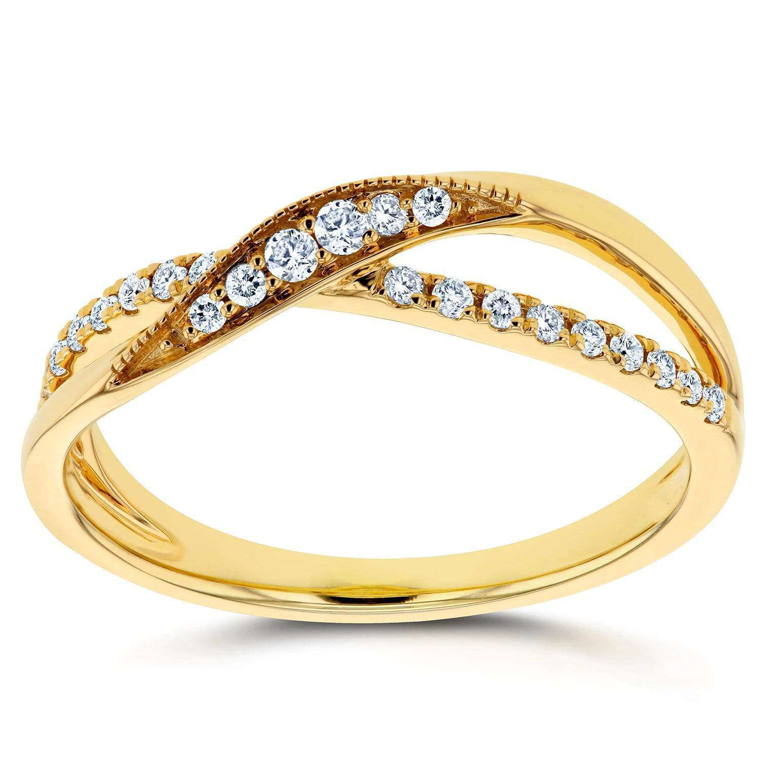 Top Diamond Fashion Ring 1/5 carat (ctw) in 10K Yellow Gold - 4