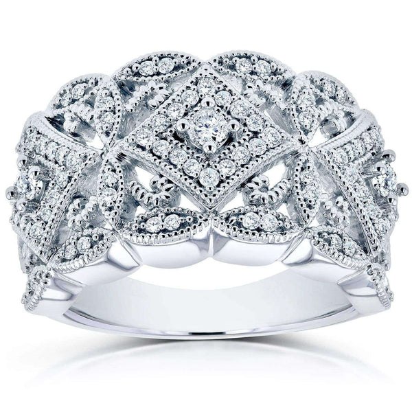 Kobelli Diamond Antique Filigree Wide Anniversary Ring 1/2 carat (ctw) in 10K White Gold