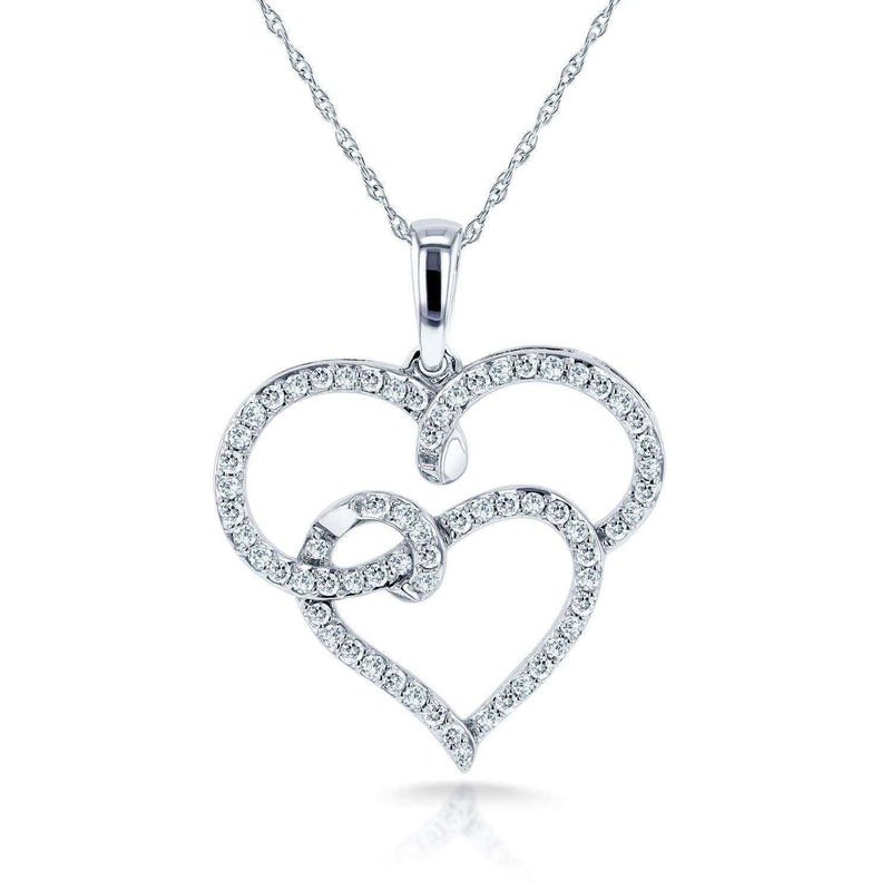 "Kobelli Round Diamond Double Interlocking Hearts Necklace 1/3 Carat (ctw) in 10k White Gold (18"" Chain) 62131"