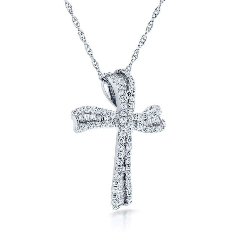 "Kobelli Round & Baguette Cut Diamond Cross Necklace 1/3 Carat (ctw) in 10k White Gold (18"" Chain) 62132"