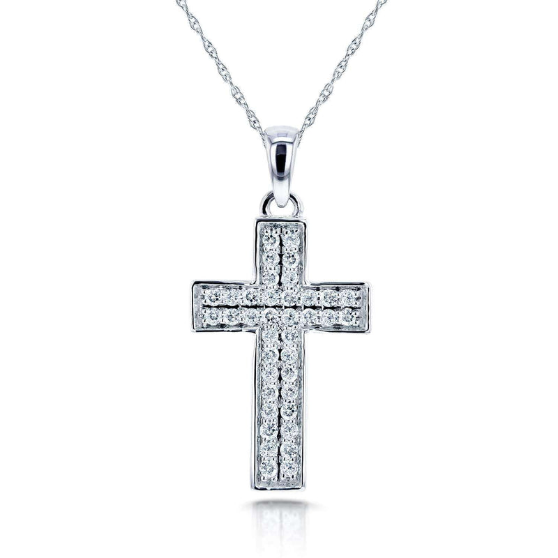 "Kobelli PaveDiamond Cross Necklace 3/8 Carat (ctw) in 10k White Gold (18"" Chain) 62133"