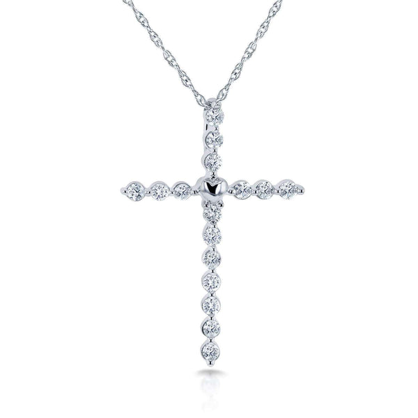 "Kobelli Diamond Cross and Heart Pendant in 10K Gold (18"" Chain) 62134"