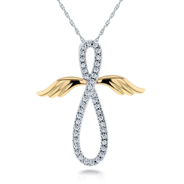 Kobelli Angel Wings Diamond Cross Necklace 1/5 Carat (ctw) in 10k White & Yellow Gold 62135