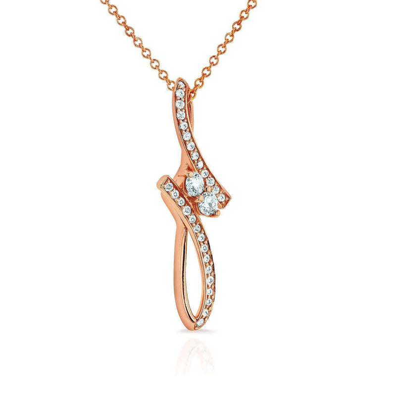 "Kobelli Two Stone Diamond Pendant 1/4 ctw in 14k Rose Gold (16"" Chain) 62143-R"