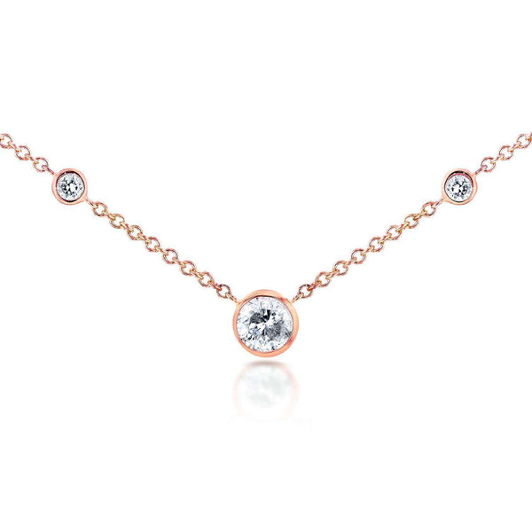 Kobelli 3 Diamond Bezel Necklace 1/4 CTW in 14K Rose Gold 62144R-R