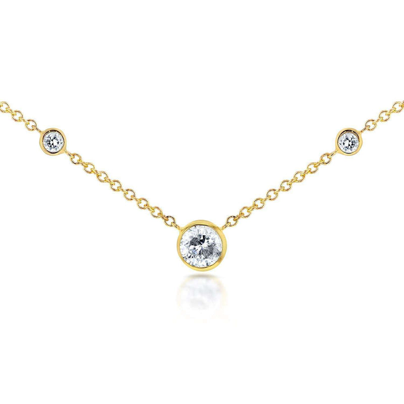 Kobelli 3 Diamond Bezel Necklace 1/4 CTW in 14K Yellow Gold 62144R-Y