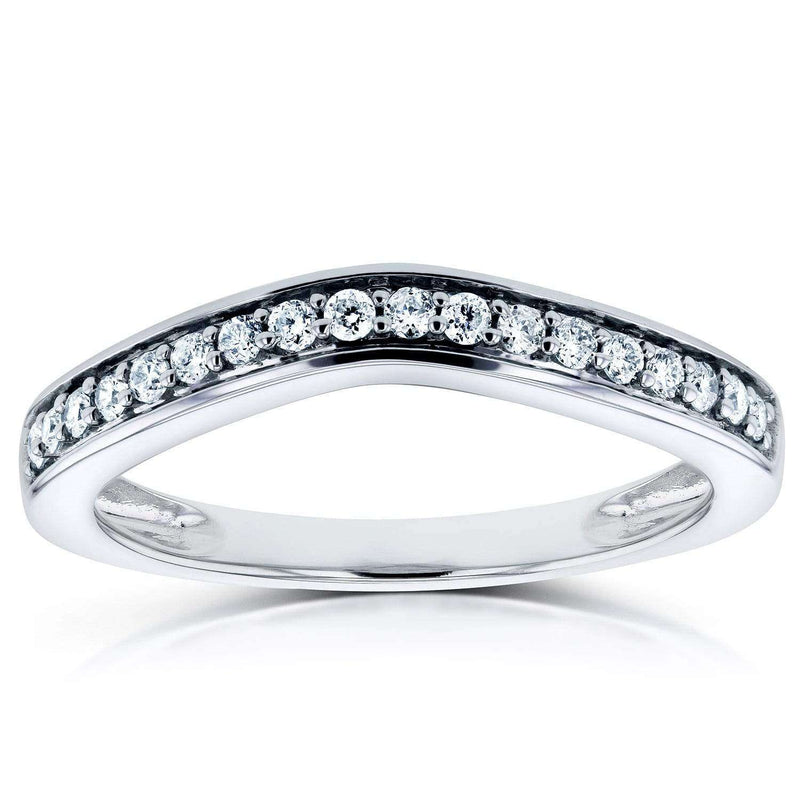 Kobelli Curved Diamond Wedding Band 1/6 CTW 14k White Gold