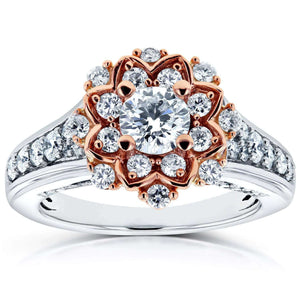 Vintage Floral Diamond Engagement Ring 1 CTW in 14k Two-Tone Gold