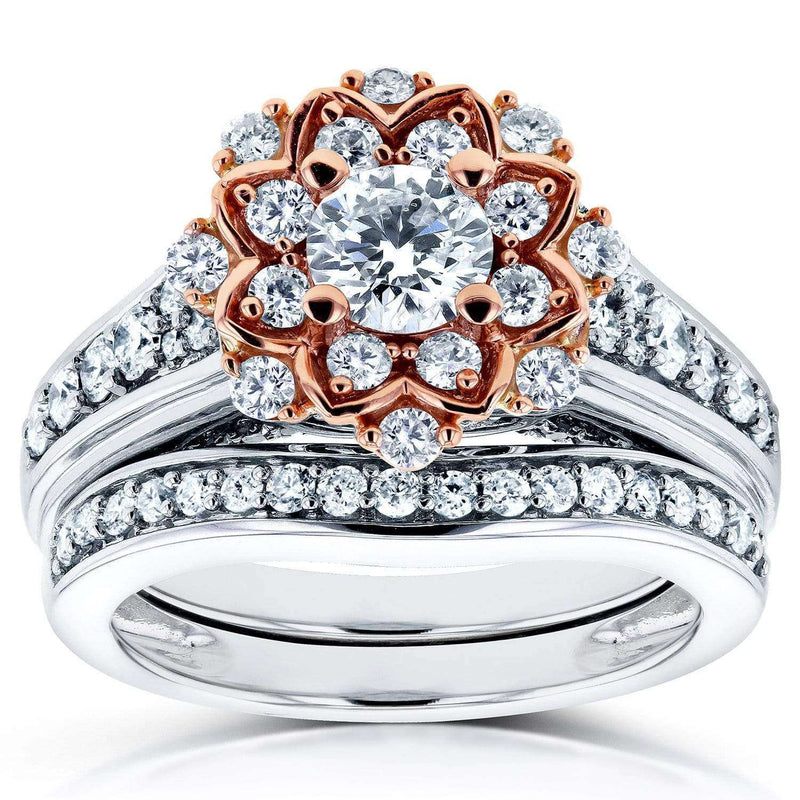 Kobelli Vintage Floral Diamond Bridal Set 1 1/6 CTW in 14k Two-Tone Gold