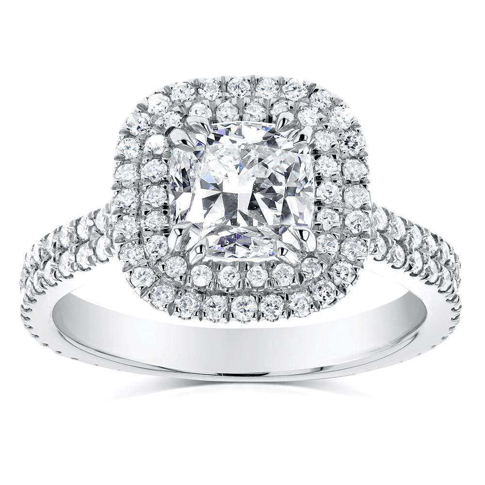 Reviews Double Halo Diamond Engagement Ring 1 3/4 CTW in 14k White Gold - 4