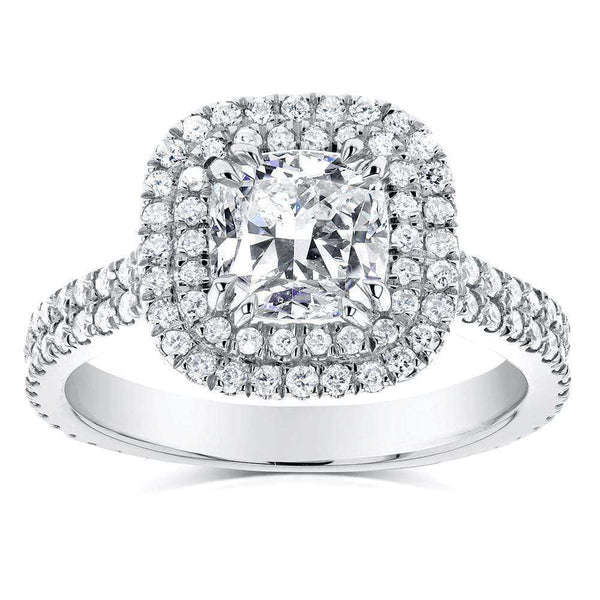 Kobelli Double Halo Diamond Engagement Ring 1 3/4 CTW in 14k White Gold