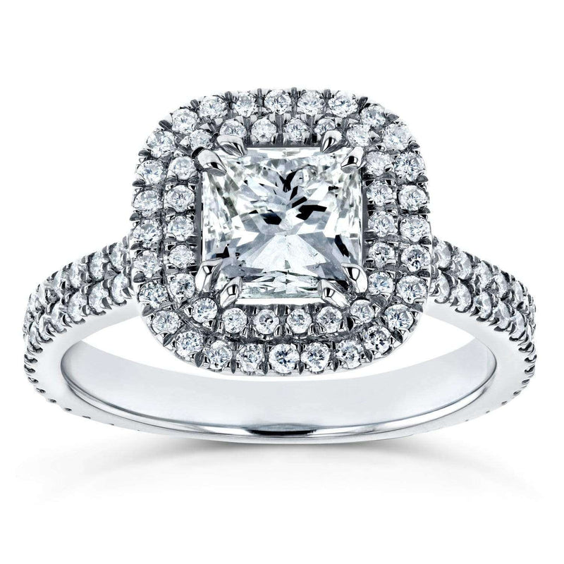 Kobelli Princess Diamond Double Halo Engagement Ring 1 3/4 CTW in 14k White Gold
