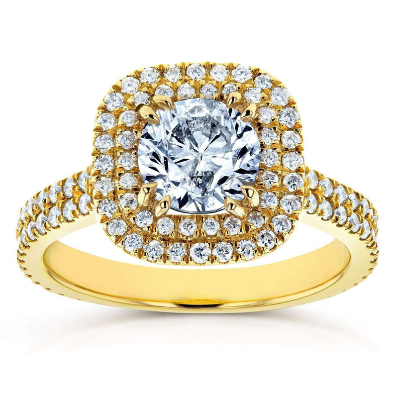 Kobelli Round Diamond Double Halo Engagement Ring 1 3/4 CTW in 14k Yellow Gold