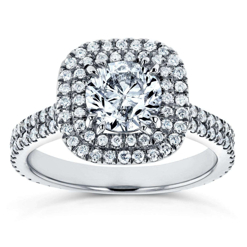 Kobelli Round Diamond Double Halo Engagement Ring 1 3/4 CTW in 14k White Gold