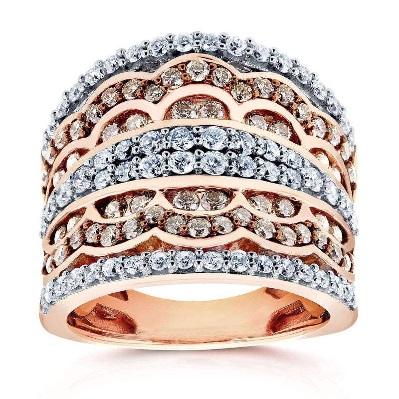 Kobelli Champagne Diamonds Fashion Ring 1 1/2 CTW in 10K Rose Gold