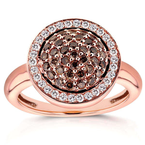 Kobelli Champagne Diamond Dome Pave Halo Ring 14K Rose Gold (5/8 CTW)