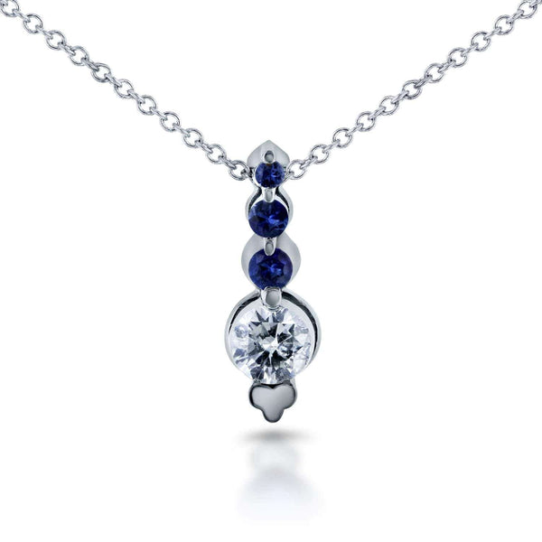 Kobelli Blue Sapphire & Diamond Bead Prong Journey Necklace in 14k White Gold 62164R-BS