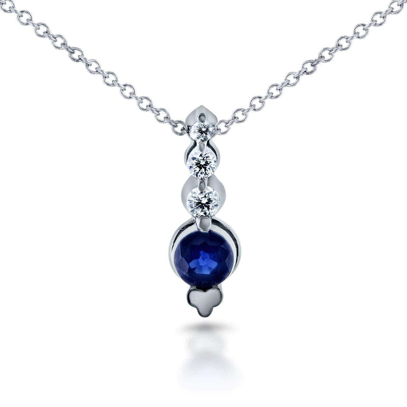 Kobelli Diamond & Blue Sapphire Bead Prong Necklace 2/5 CTW in 14k White Gold 62164RBS
