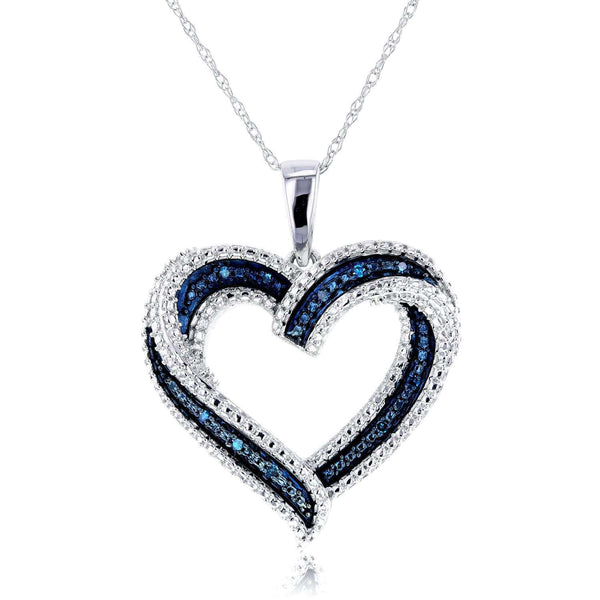 Kobelli Blue Diamond Heart Pendant 10k White Gold 62165