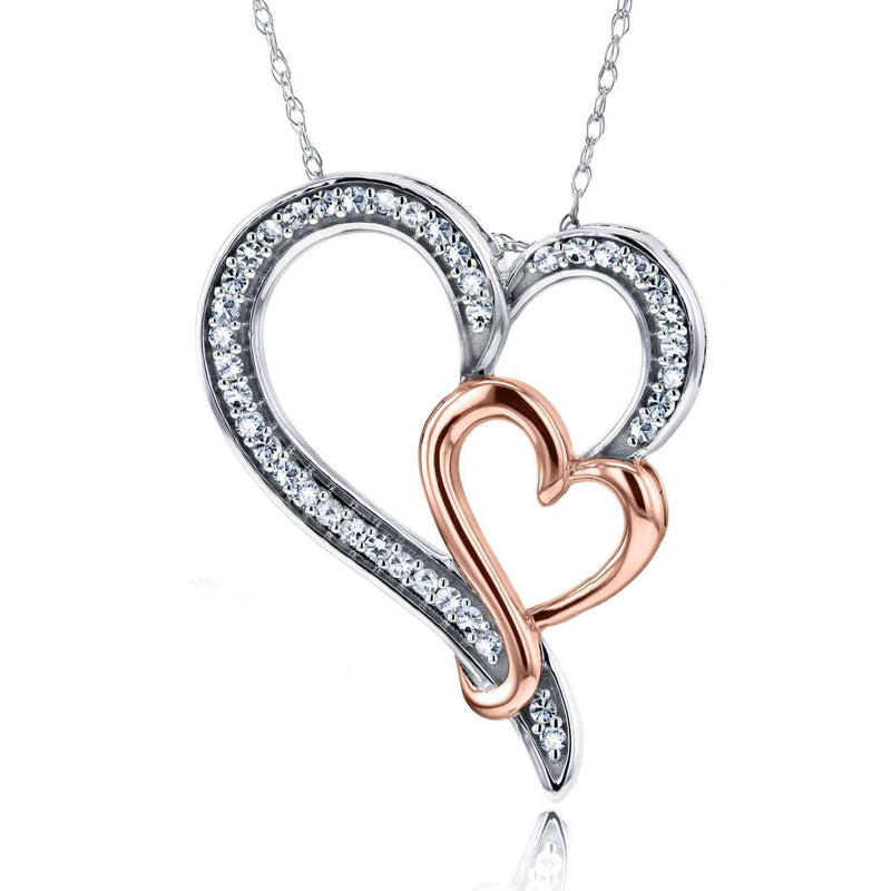 Kobelli Diamond Double Heart Pendant 1/5 CTW in 10K Two-Tone Gold 62167-WR
