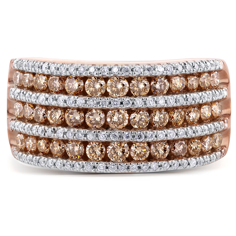 Brown and White Diamond Multi Row Ring 1 1/2 CTW in 10k Rose Gold