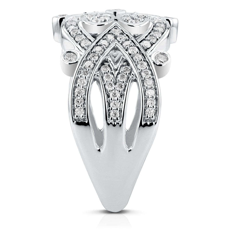 Kobelli Diamond Filigree Edwardian Fashion Band 1/2 CTW in 10K White Gold