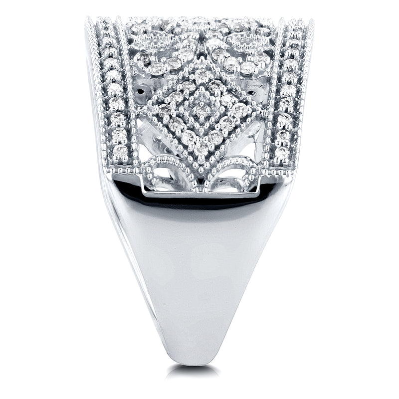 Diamond Edwardian Milgrain Anniversary Band 1/2 CTW in 10K White Gold
