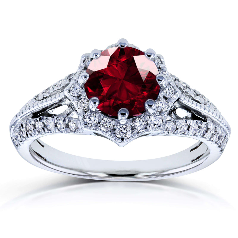 Kobelli Vintage Garnet & Diamond Engagement Ring 1 1/3 Carat (ctw) in 14K White Gold