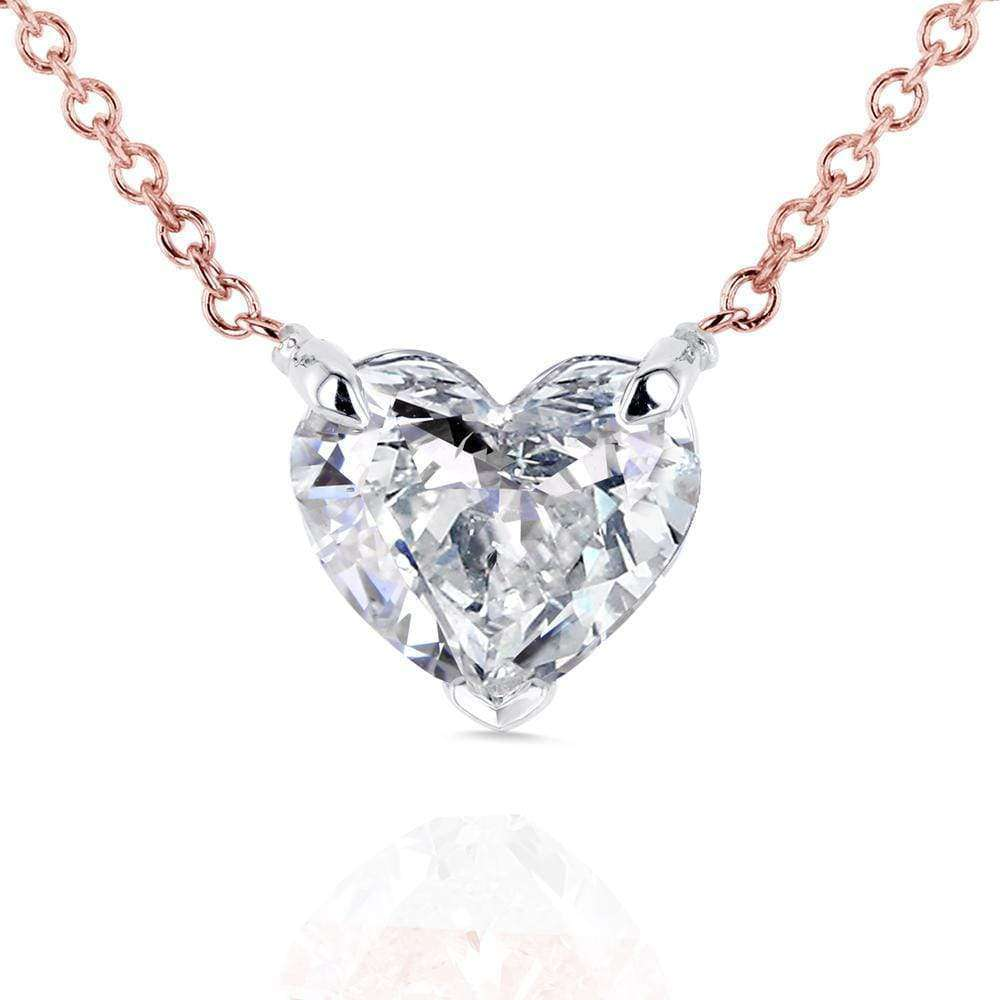 Best Floating Heart Diamond Necklace 1 CTW in 14K Gold (Certified)