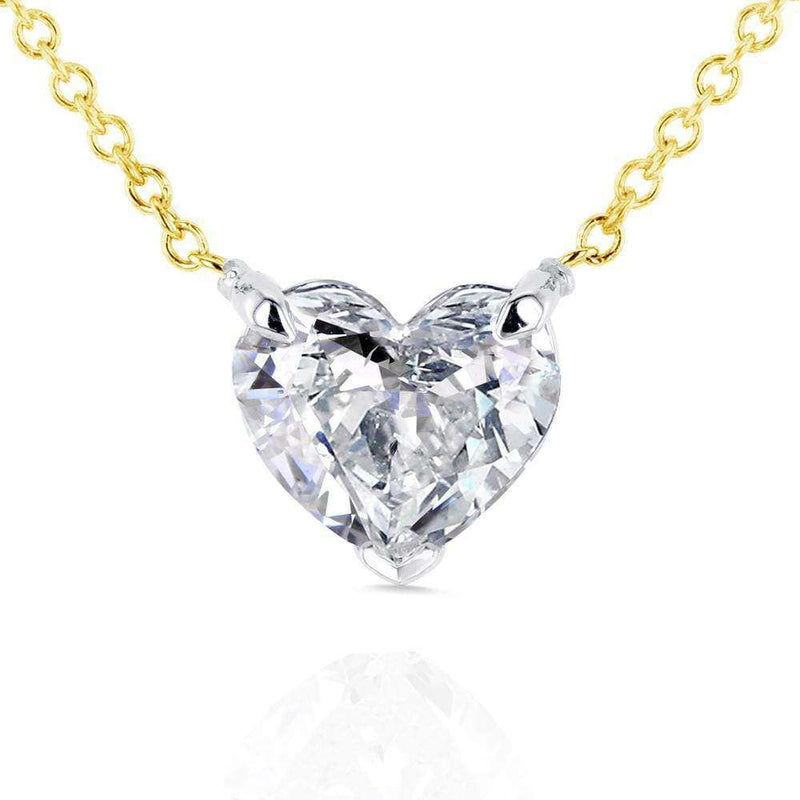 Kobelli Floating Heart Diamond Necklace 1 CTW in 14K Gold (Certified) 62180-Y