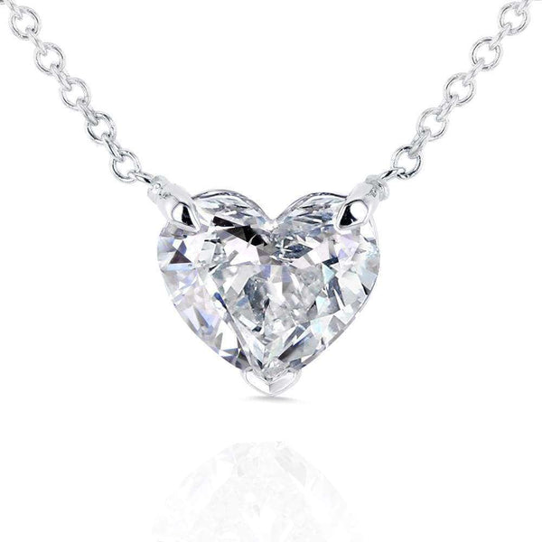 Kobelli Floating Heart Diamond Necklace 1 CTW in 14K White Gold (Certified) 62180