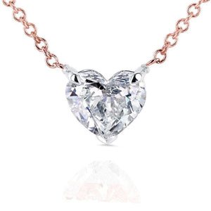 Floating Heart Diamond Necklace 3/4 CTW in 14K Gold (Certified)