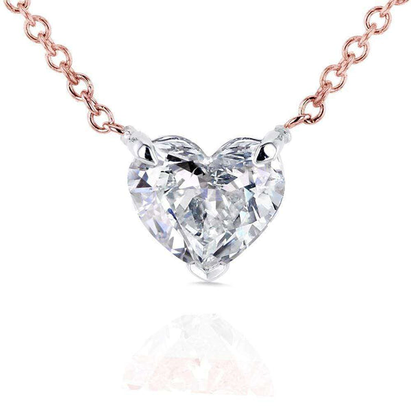 Kobelli Floating Heart Diamond Necklace 3/4 CTW in 14K Gold (Certified) 62181-R