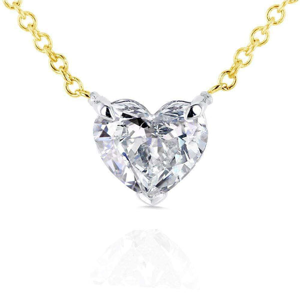 Kobelli Floating Heart Diamond Necklace 3/4 CTW in 14K Gold (Certified, SI) 62181-Y-SI