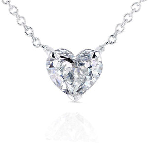 Floating Heart Diamond Necklace 3/4 CTW in 14K White Gold (Certified)