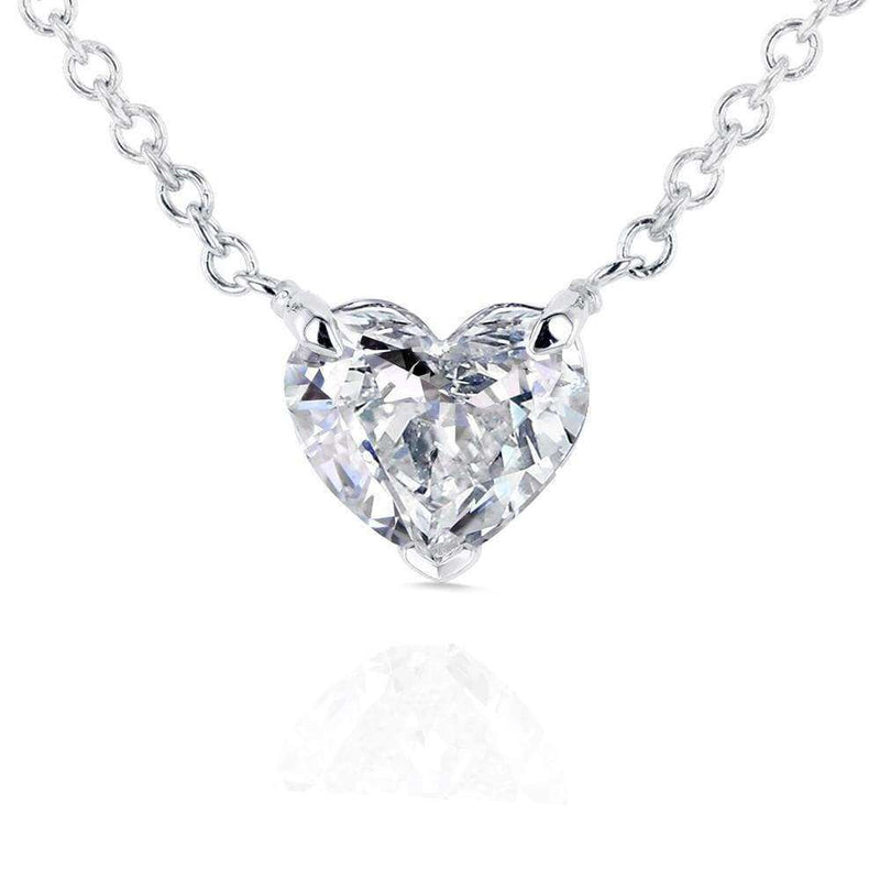 Kobelli Floating Heart Diamond Necklace 1/2 CTW in 14K White Gold (Certified) 62182