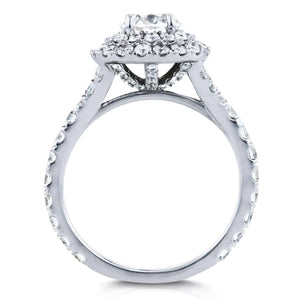 Kobelli Diamond Double Halo Cathedral Engagement Ring 2 CTW in 14k White Gold