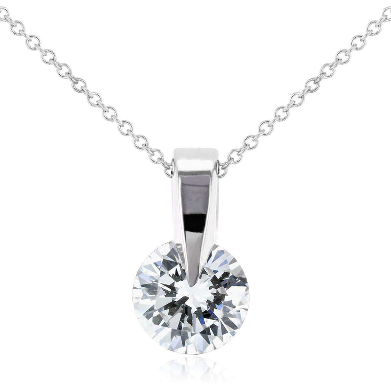 "Kobelli Floating Diamond Solitaire Necklace 1/2 Carat in 14k White Gold (16"" Chain) 62187"